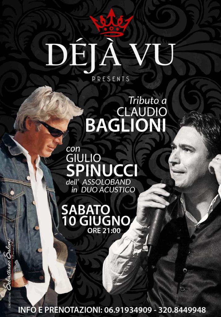 La locandina per l'evento del tributo al grande Claudio Baglioni. Interpretato da Giulio Spinucci